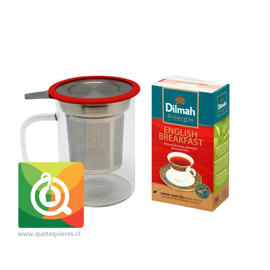 Mug Infusor Vidrio + English Breakfast Dilmah