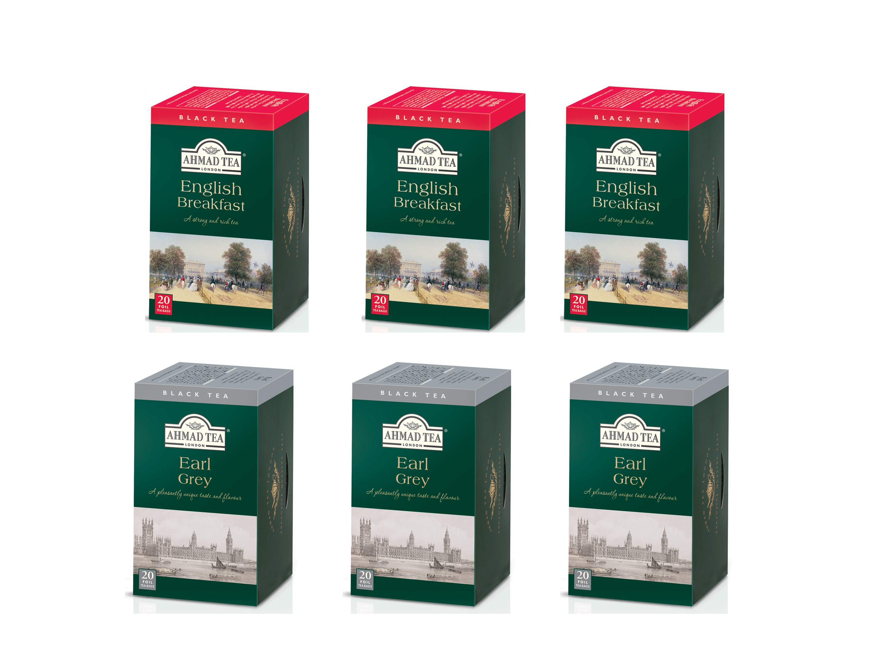 Ahmad Té Negro Earl Grey y Té Negro English Breakfast Pack 6