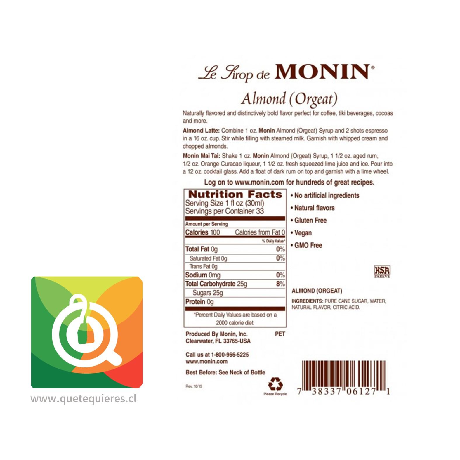 Monin Syrup Almendra- Image 2
