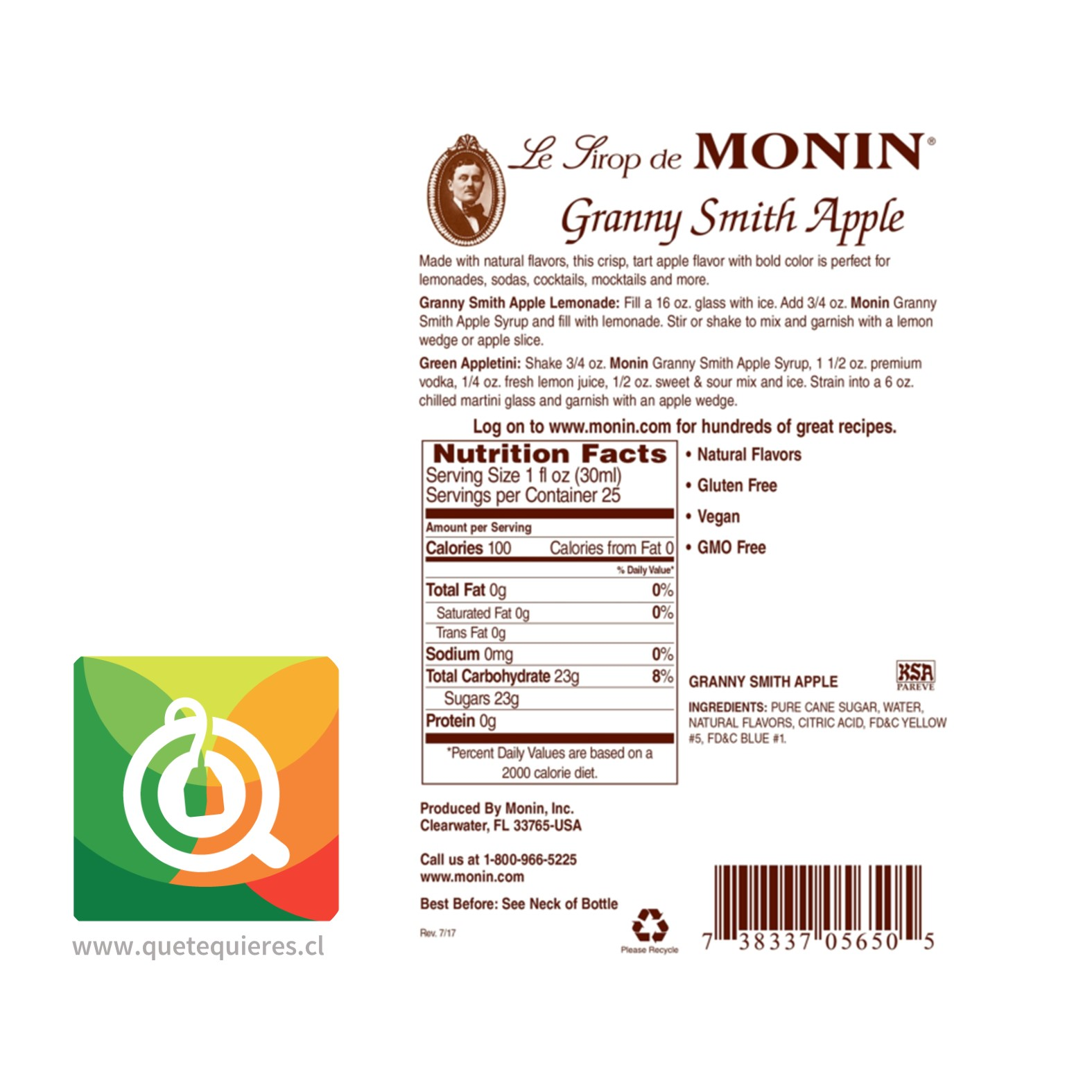 Monin Syrup Manzana Verde- Image 2