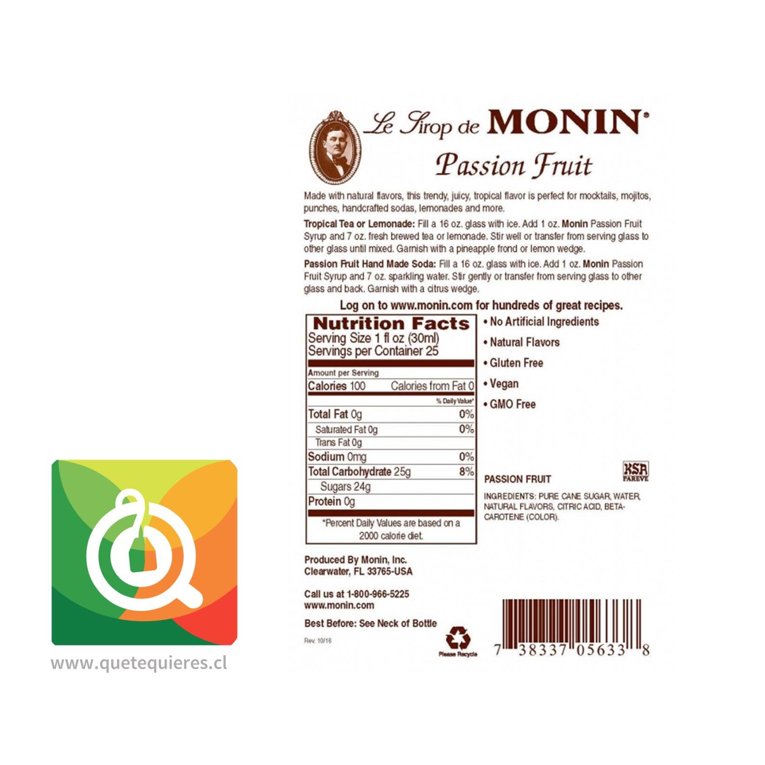 Monin Syrup Passion Fruit- Image 2