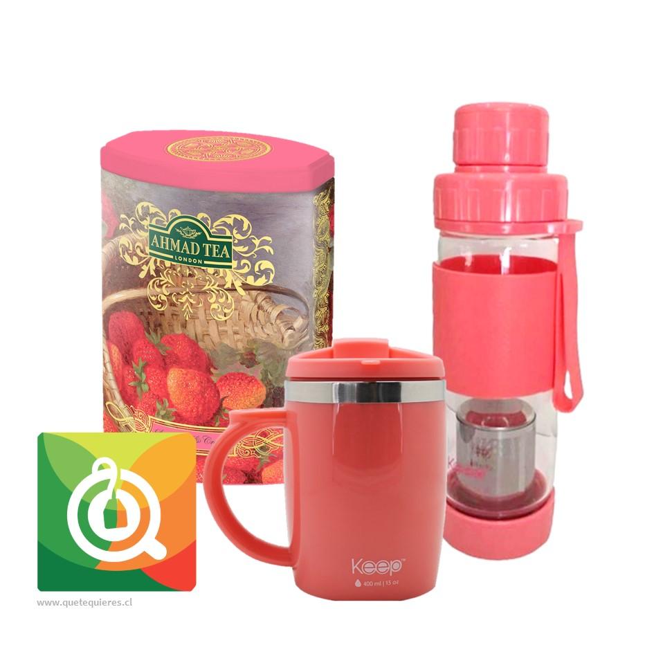 Pack Ahmad Te negro frutilla + Keep Mug y botella vidrio