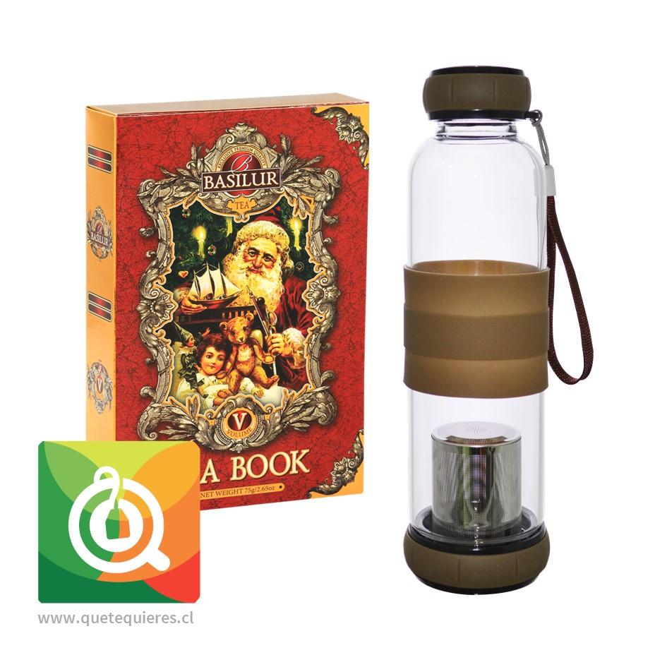 Pack Basilur Té Negro Libro Vol V + Sling Glass Botella de Vidrio Café 420 ml