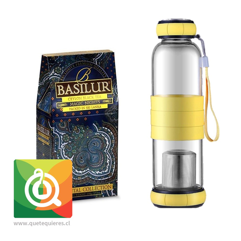 Pack Basilur Té Negro Magic Nights + Sling Glass Botella de Vidrio Amarillo