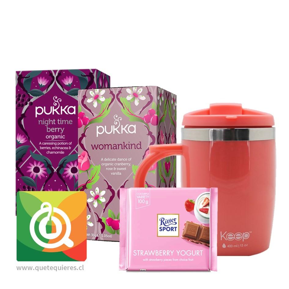 Pack Pukka Infusiones + Keep Mug + Ritter Sport Chocolate yogurt Frutilla