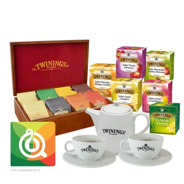 Pack Twinings, Caja de Madera 8 Divisiones + Lozas + 6 Cajitas de Té