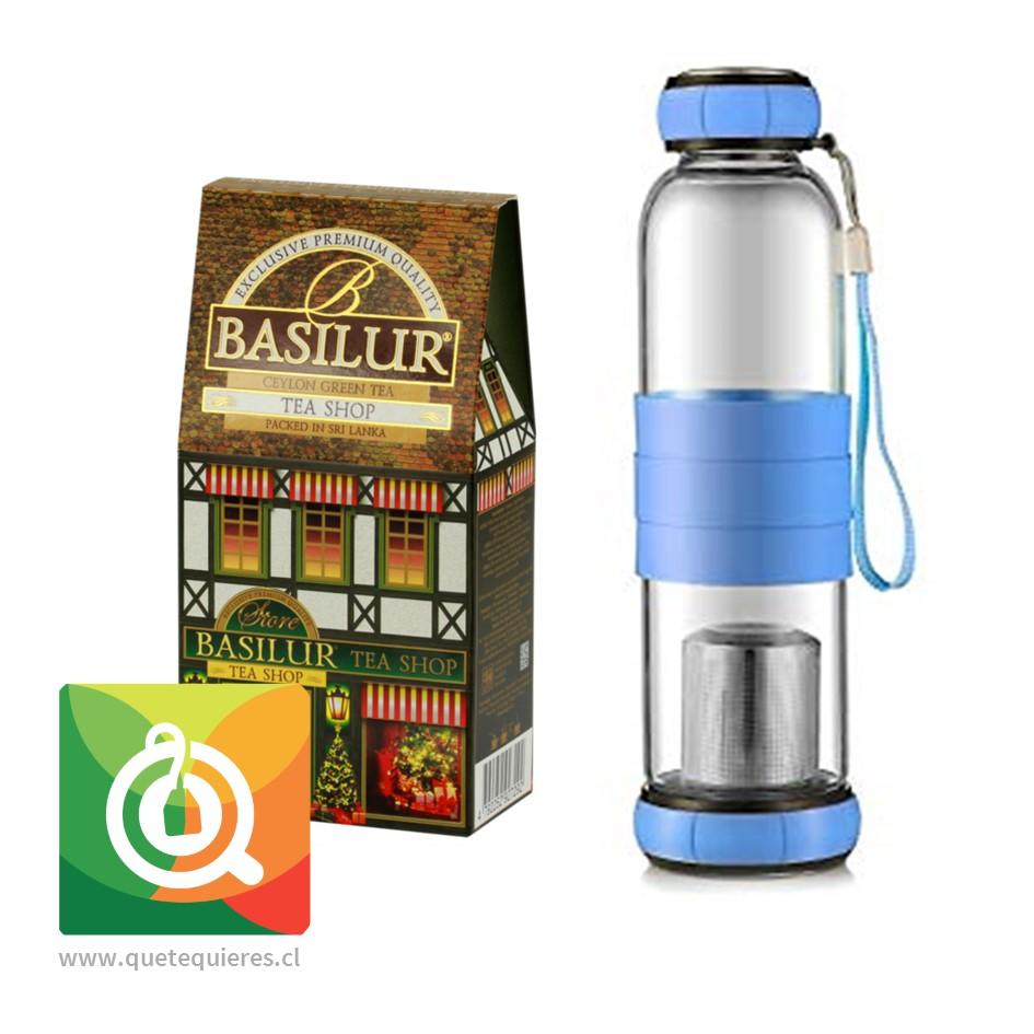 Pack Basilur Té Verde Tienda de Té + Sling Glass Botella de Vidrio Celeste