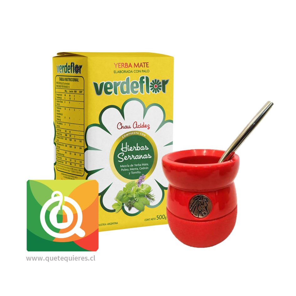 Pack VerdeFlor Yerba Mate + Matero y Bombilla Rojo