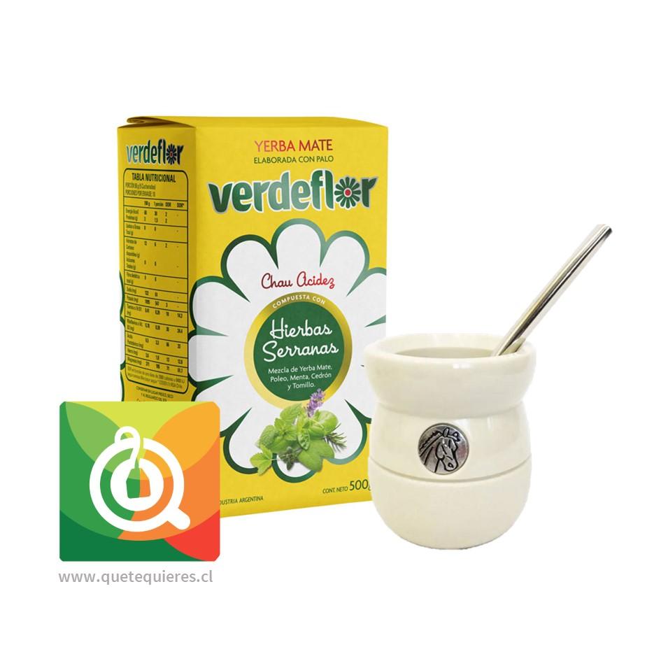 Pack VerdeFlor Yerba Mate + Matero y Bombilla Blanco