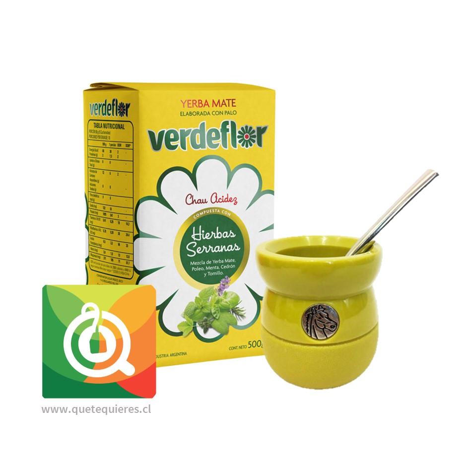 Pack VerdeFlor Yerba Mate + Matero y Bombilla Amarillo