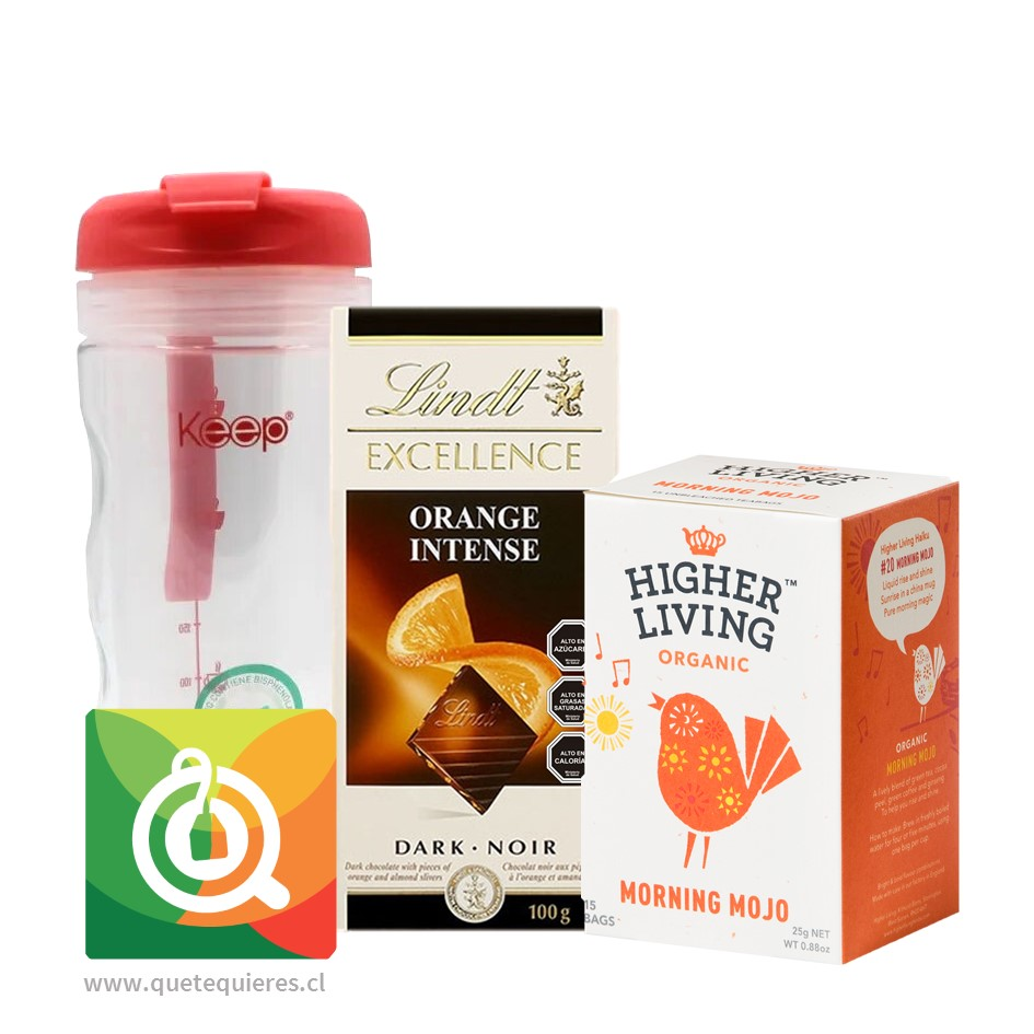 Pack Keep Mug Infusor + Lindt Chocolate Naranja + Higher Living Infusión