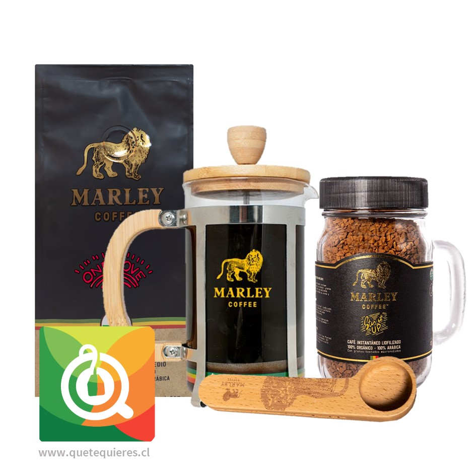 Pack Marley Coffee Café One Love + Café Liofilizado + Prensa 600 ml  + Cuchara