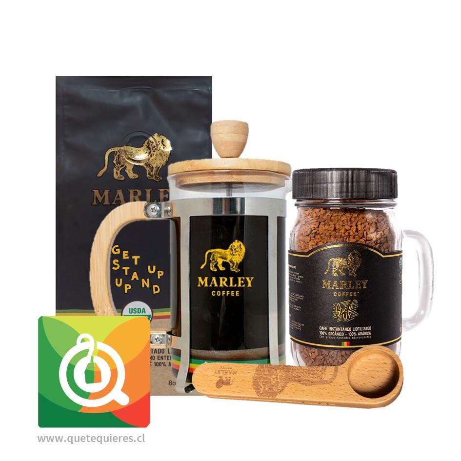 Pack Marley Coffee Café Get Up Stand Up + Café Liofilizado + Prensa 600 ml + Cuchara