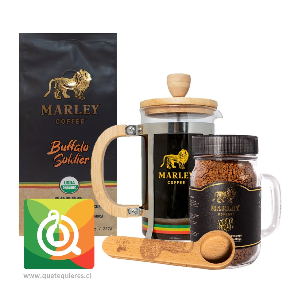 Pack Marley Coffee Café Buffalo Soldier+ Café Liofilizado + Prensa 600 ml + Cuchara
