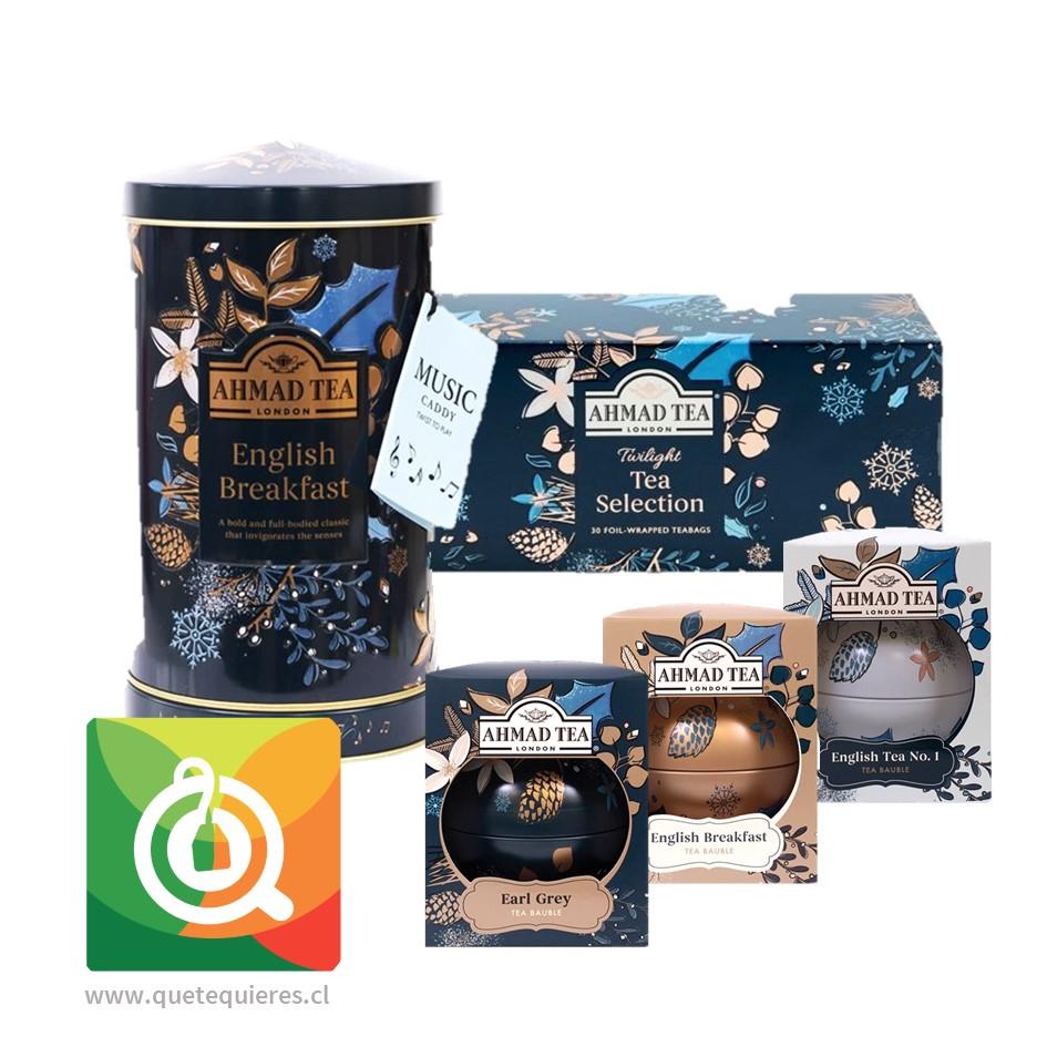 Pack Ahmad Lata de Té Musical + Gift Selection + 3 Bolas de Navidad