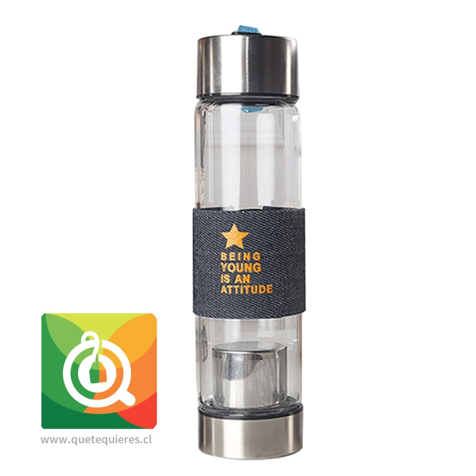 Botella Vidrio Infusor Metálico Star Mezclilla 450 ml