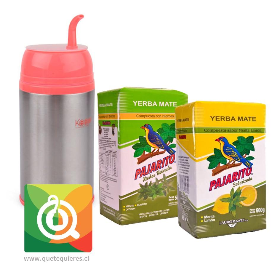 Pack Pajarito Yerba Mate Menta Cedrón + Menta Limón + Keep Termo Mate Fucsia
