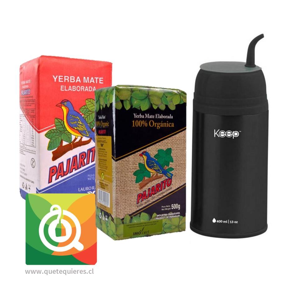 Pack Pajarito Yerba Mate Tradicional + Organica + Keep Termo Mate Negro