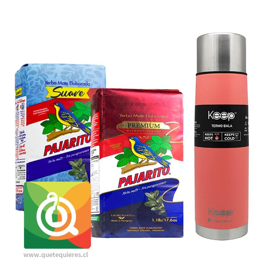 Pack Pajarito Yerba Mate Premium + Suave + Keep Termo Bala Fucsia