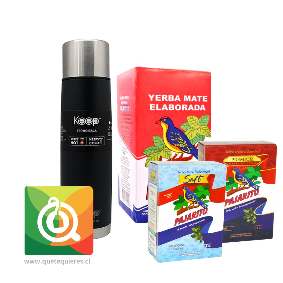 Pack Pajarito Surtido de Yerba Mate + Keep Termo Bala Negro 500 ml