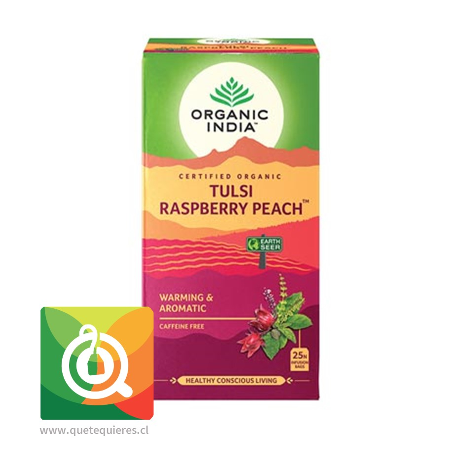 Organic India Infusión Tulsi Frambuesa y Melocotón
