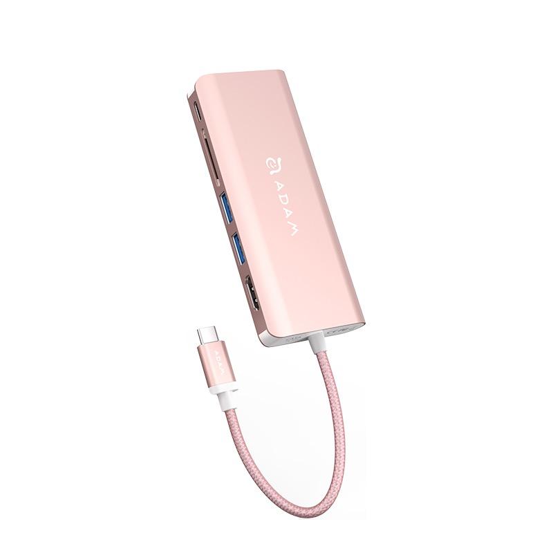 Hub USB-C Multipuerto con HDMI y Ethernet Adam Elements CASA A01 / Oro Rosa