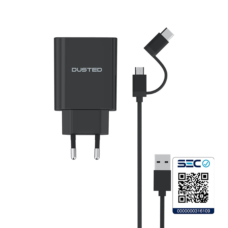Cargador USB Quick Charge 30 de 18 W Dual con cable Micro-USB / USB-C Dusted
