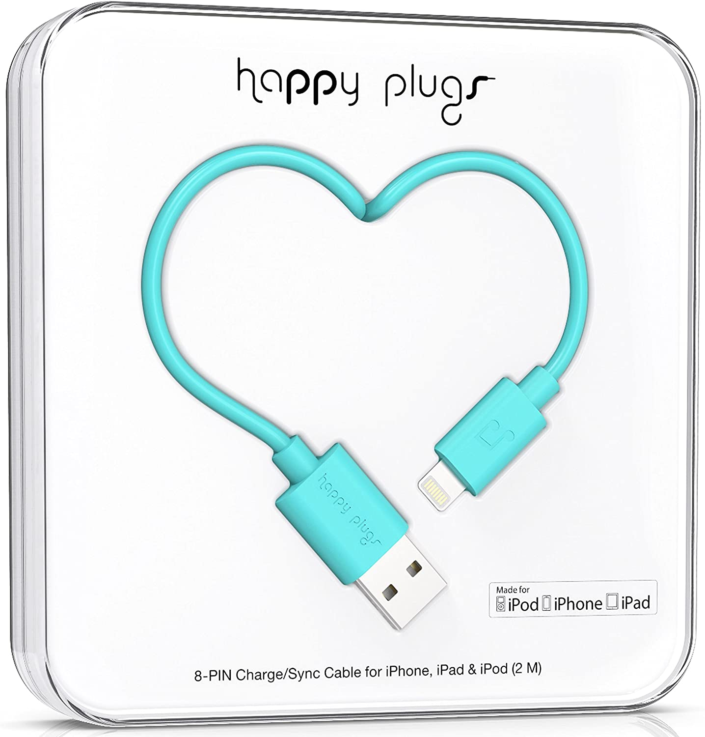 Cable Lightning a USB 2.0 Mt Happy Plugs turquoise
