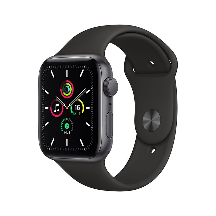 - Apple Watch SE GPS, 44mm Space Gray Aluminium Case with Black Sport Band 1