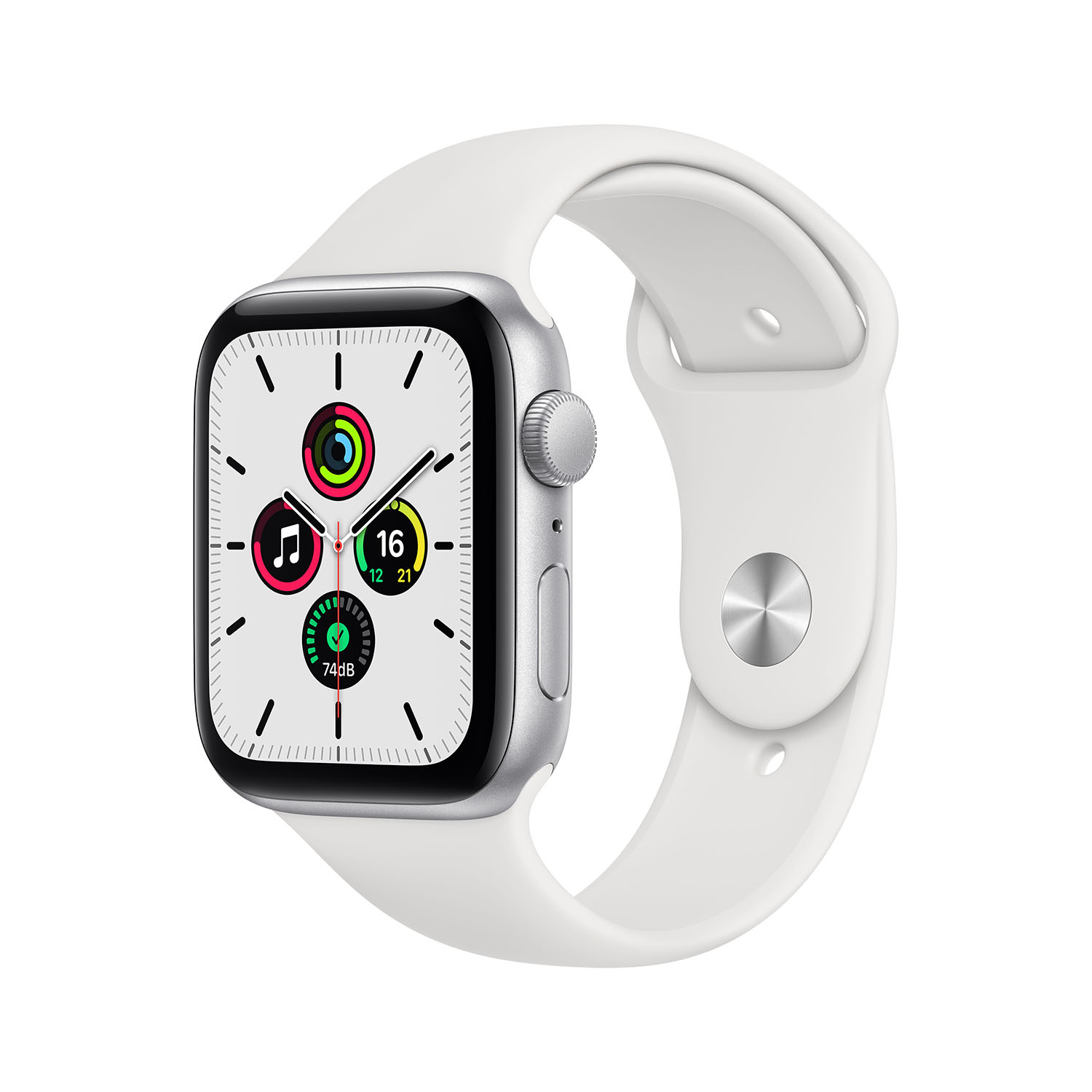 - Apple Watch SE GPS, 44mm Silver Aluminium Case with White Sport Band 1
