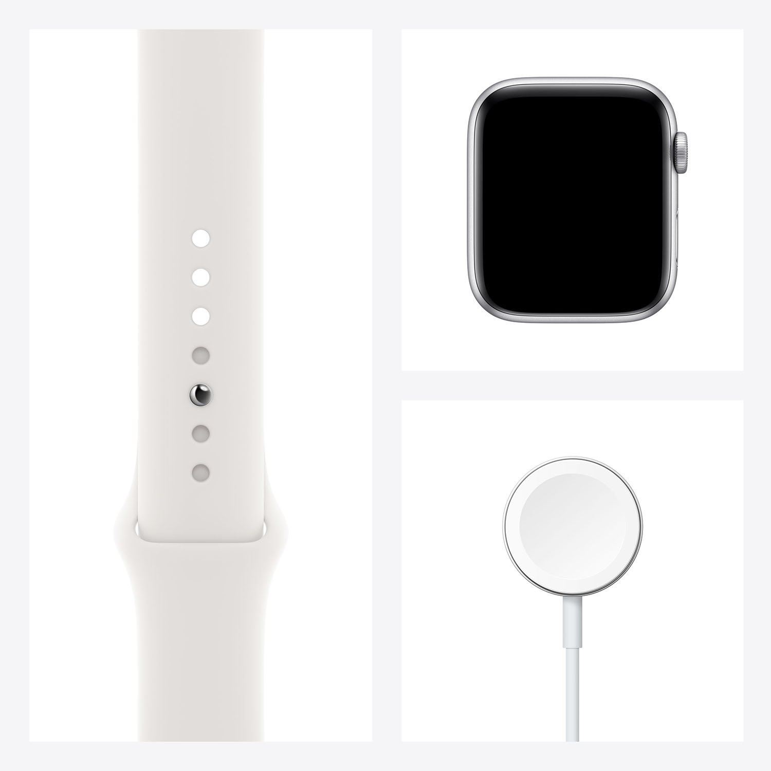 - Apple Watch SE GPS, 44mm Silver Aluminium Case with White Sport Band 7