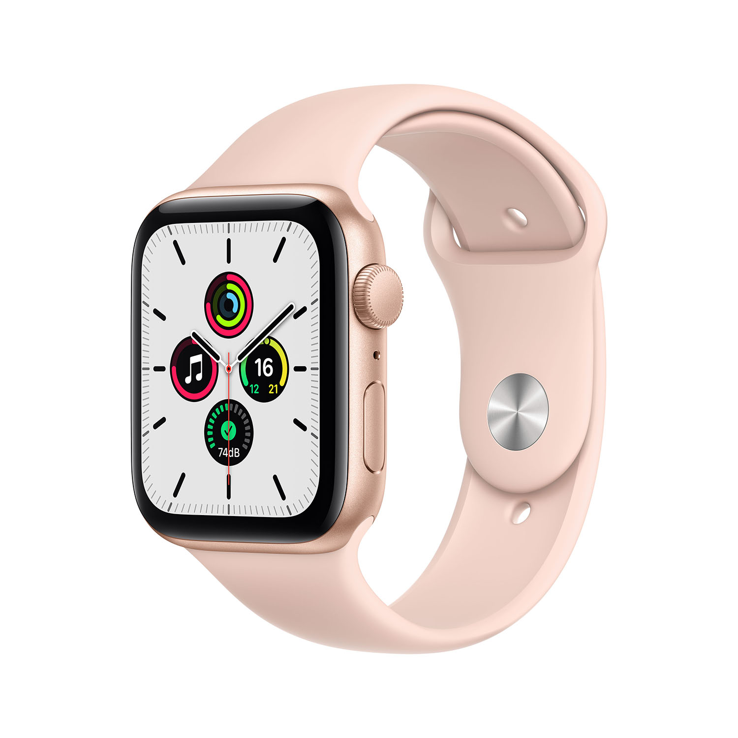 - Apple Watch SE GPS, 44mm Gold Aluminium Case with Pink Sand Sport Band 1