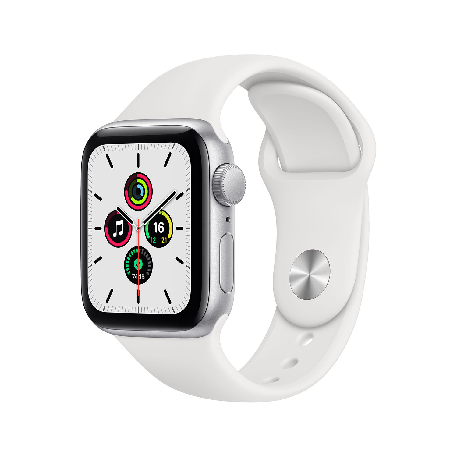 - Apple Watch SE GPS, 40mm Silver Aluminium Case with White Sport Band 1