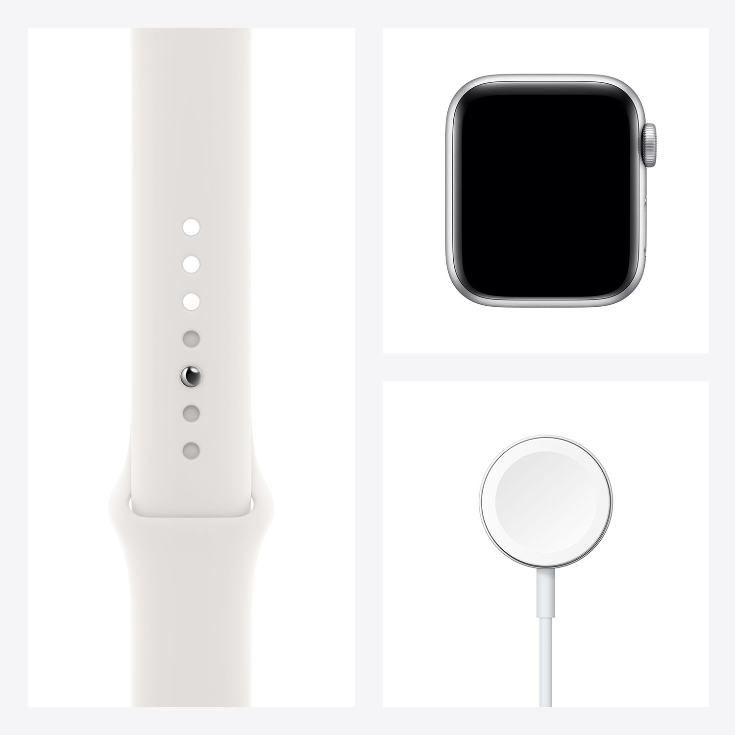 - Apple Watch SE GPS, 40mm Silver Aluminium Case with White Sport Band 7