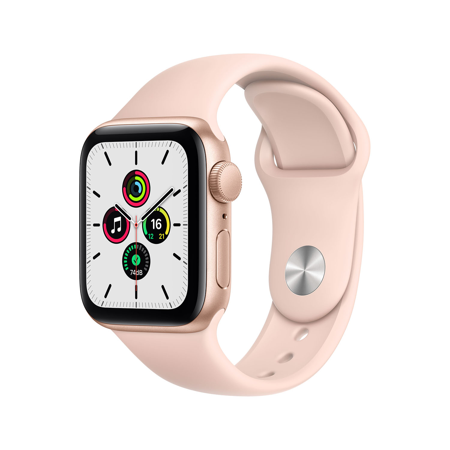 - Apple Watch SE GPS, 40mm Gold Aluminium Case with Pink Sand Sport Band 1