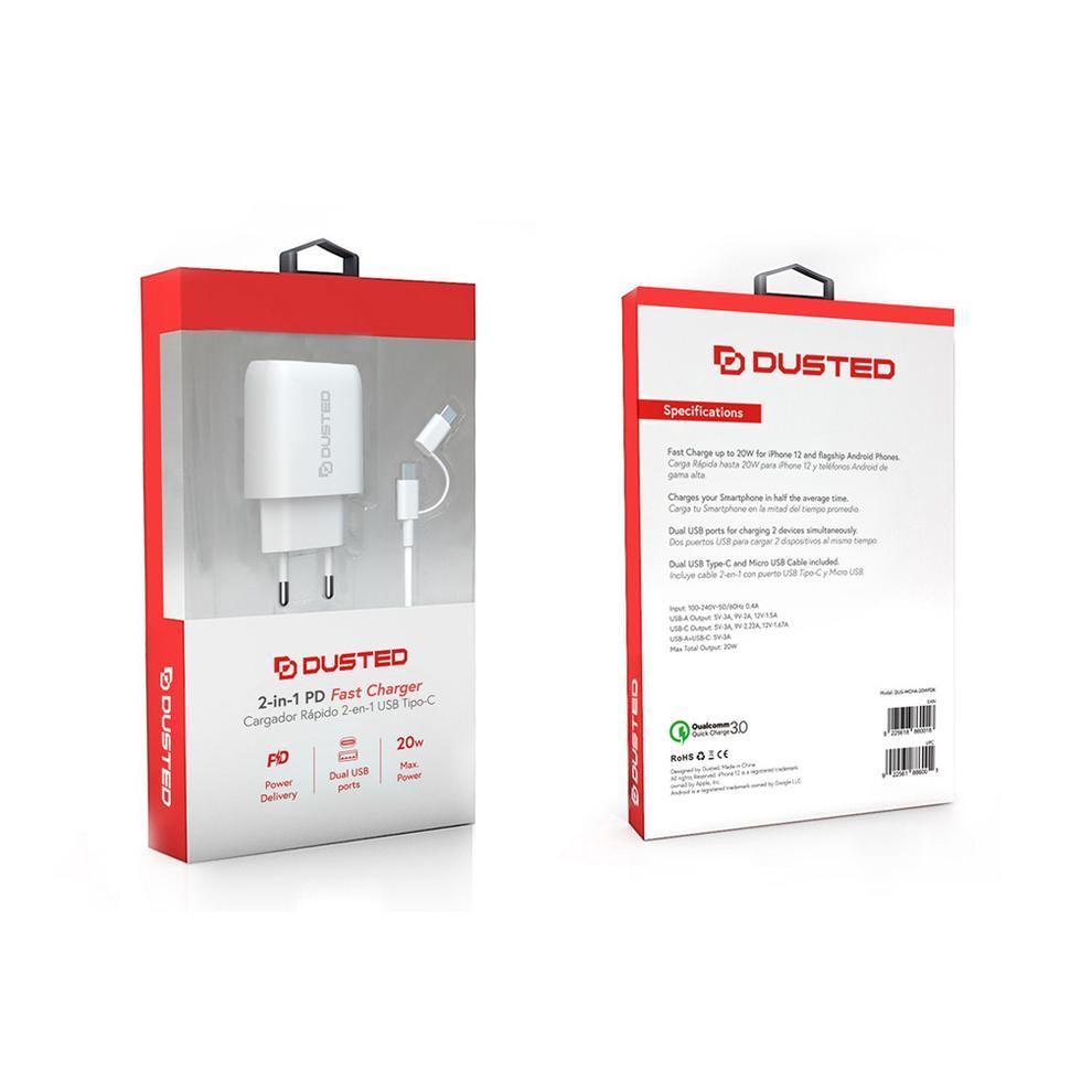 - Cargador USB-C PD Carga rapida 20W para iPhone y iPad Dusted con Cable 2en1 Blanco 3