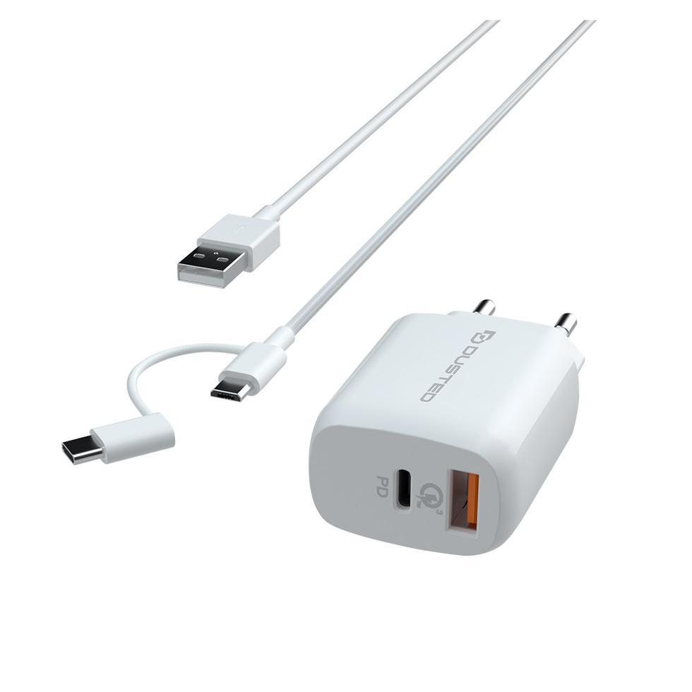 - Cargador USB-C PD Carga rapida 20W para iPhone y iPad Dusted con Cable 2en1 Blanco 2