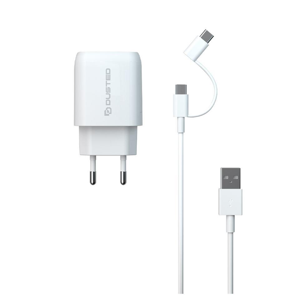 - Cargador USB-C PD Carga rapida 20W para iPhone y iPad Dusted con Cable 2en1 Blanco 1