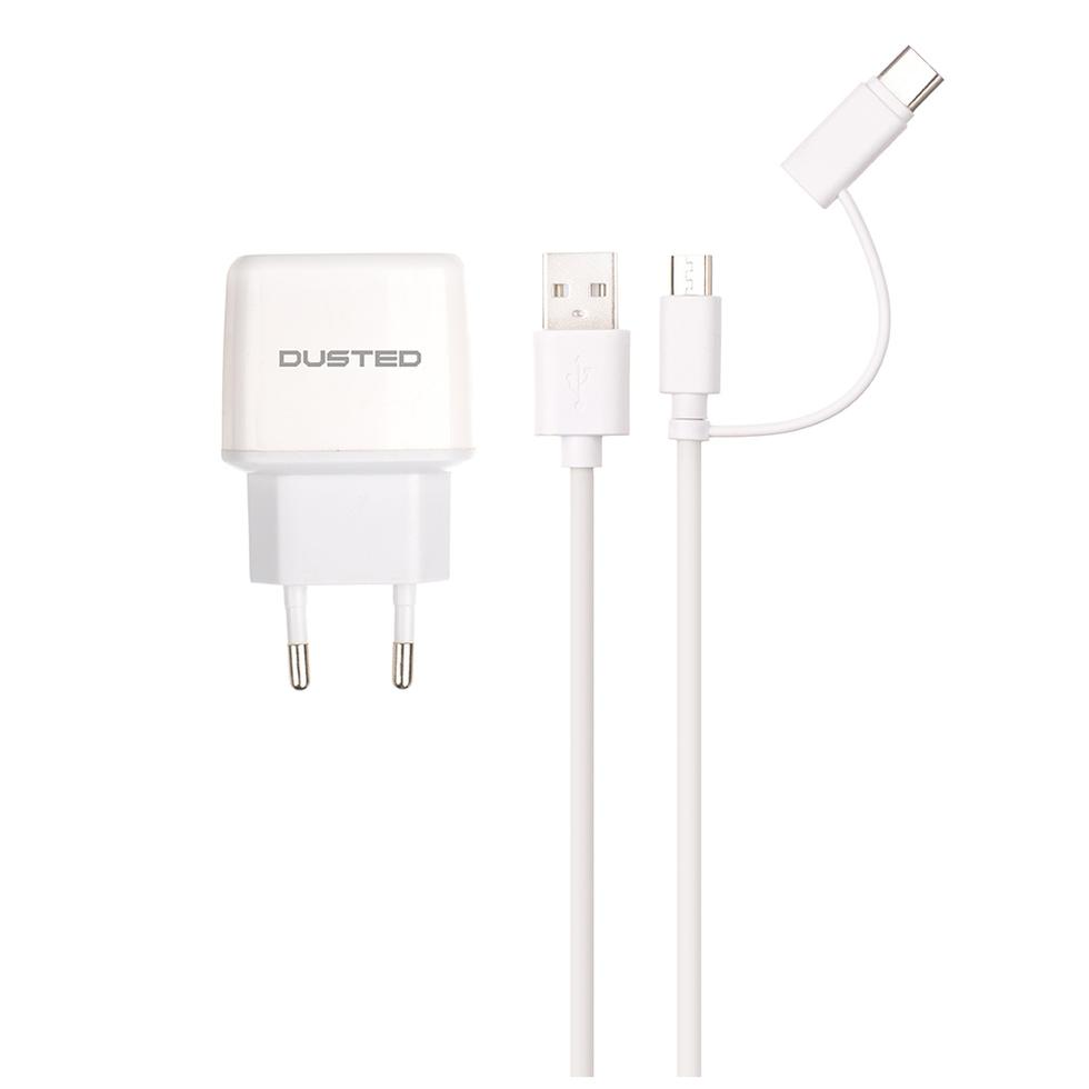 - Cargador 2-en-1 de 12W con Cable USB dual Dusted blanco 1