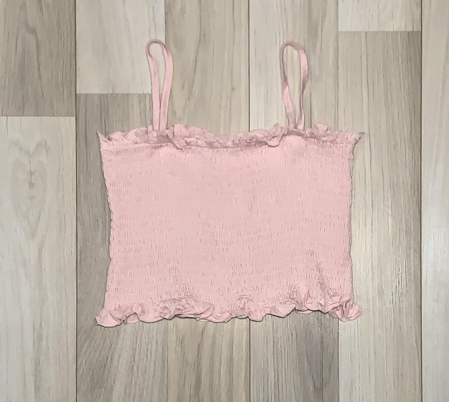 Top Crop Palo rosa corrugado con tiritas