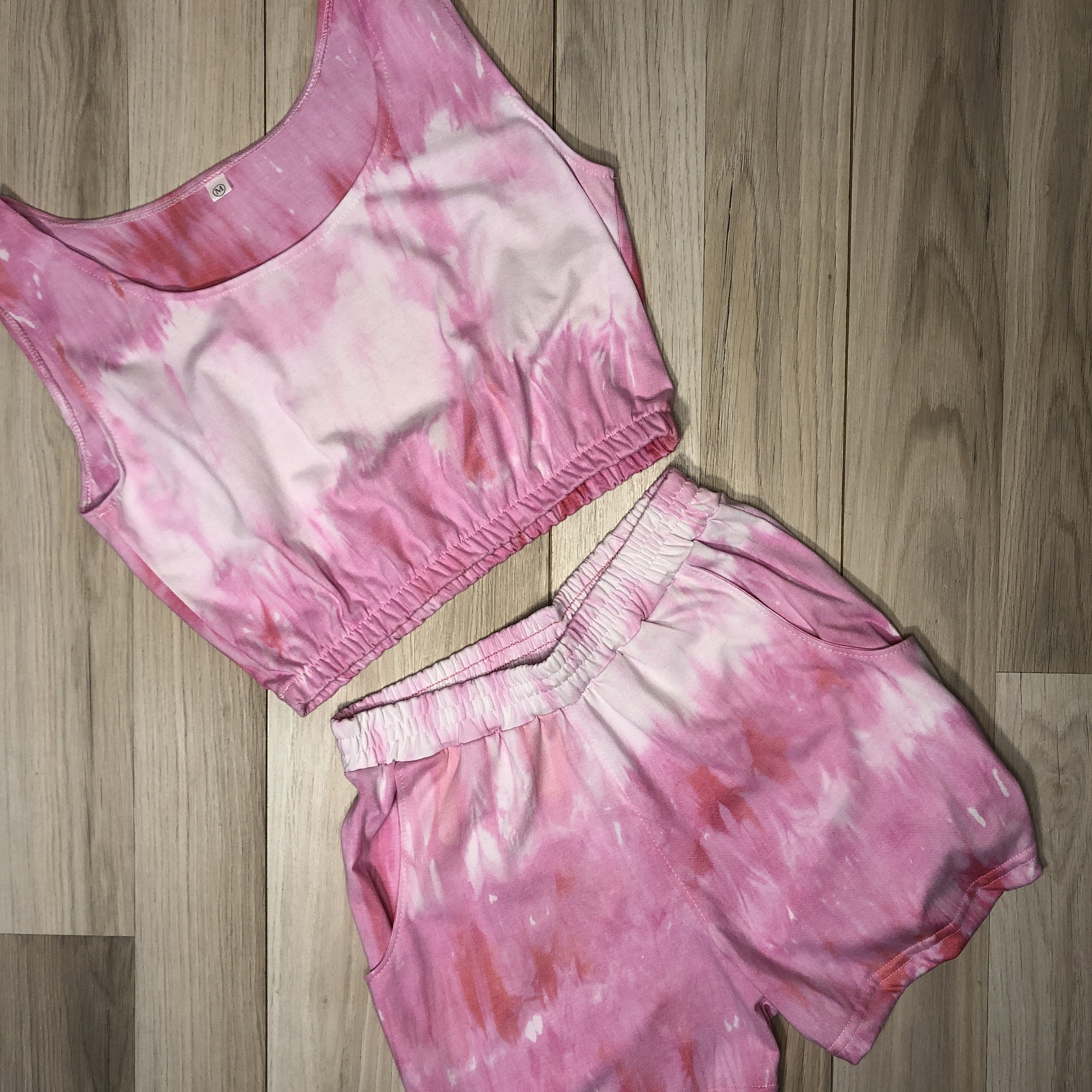 Conjunto Tie Dye Blanco/Rosado
