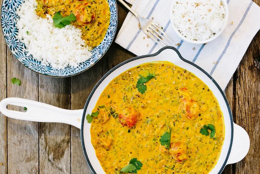 Receta: Curry cremoso de lentejas