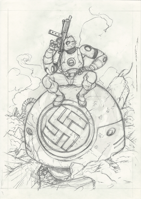 Atomic Robo Illustration (pencils)