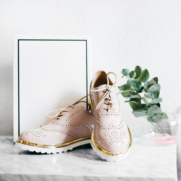 Pink and golden shoes