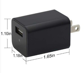 CAMARA ESPÍA HD 1080P CARGADOR USB - MEMORIA INTERNA 8GB