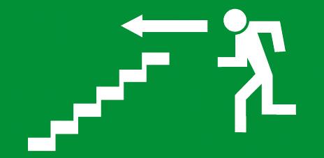Sortie et issue de secours escalier gauche