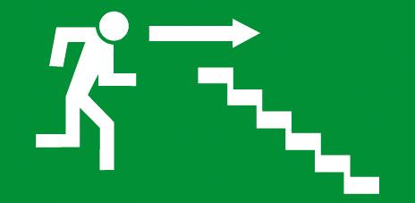 Sortie et issue de secours escalier droite