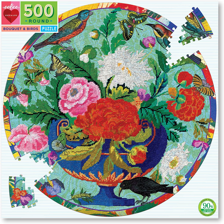 Puzzle redondo Bouquet & Birds 500 piezas