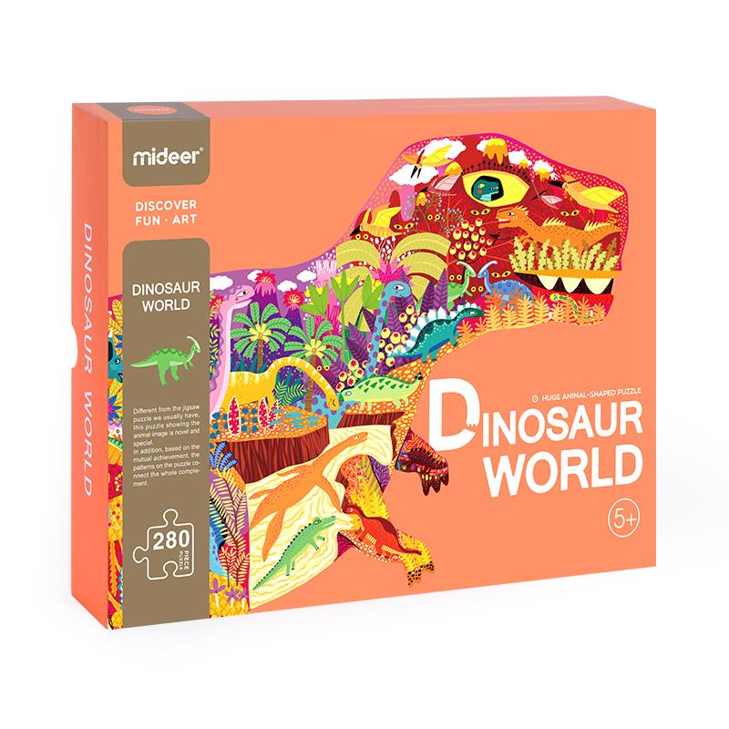 Puzzle Mundo Dinosaurio 280 Piezas con forma