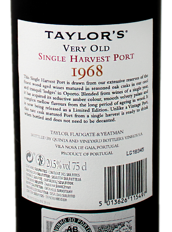 Taylor's Single Harvest 1968 Port